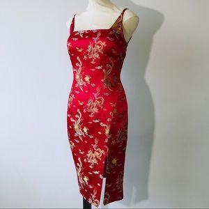 Vintage 80's Red Chinese Embroidery Details Dress